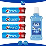 Oral-B Enjuague Bucal Crest Anticaries, Menta Refrescante, 500 ml, Pastas dental Crest Anticaries 4 Piezas