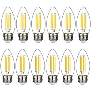 BORT B11 Chandelier led Light Bulbs, Dimmable 4W Equivalent to 40W LED Candelabra Bulbs, 2700K Warm White, E26 Standard Base LED Bulbs, Torpedo Top (B11-12 Pack)