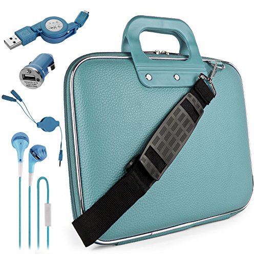 Blue Sallie Travel Bag w/ Micro USB Cable & Charger, 2-in-1 3.5mm Headpone Jack Adaper & More For Acer Iconia Tab / Switch One/ Aspire Switch / 10″ Tablet Laptop PC