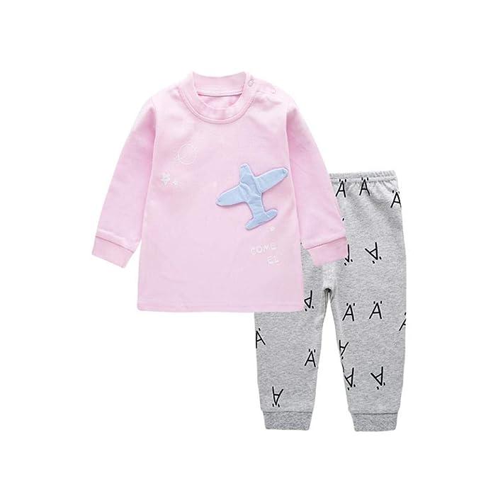K-youth Ropa Bebe Niño Invierno Otoño Bebé Niñas Avión de Dibujos Animados Impresión Camisetas de Manga Larga Pijama y Pantalones Conjunto de Ropa: ...