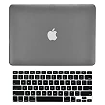 """TopCase 2-in-1 Rubberized Hard Case Cover and Keyboard Cover for Macbook White Unibody 13"""" (A1342 / Oct 2009 - 2011) with TopCase Mouse Pad (case NOT for 1st gen A1181 with mouse clicker) (Macbook White A1342, Gray)"""