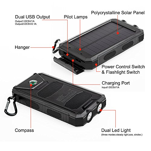 StarVast Solar Charger, 10000 mAh Solar Power Bank with 2 LED lights Dual USB Port Portable External Backup Solar Panel Charger for iPhone, Samsung, Cell Phones, Tablet, Emergency Camping (Black) by StarVast (Image #2)