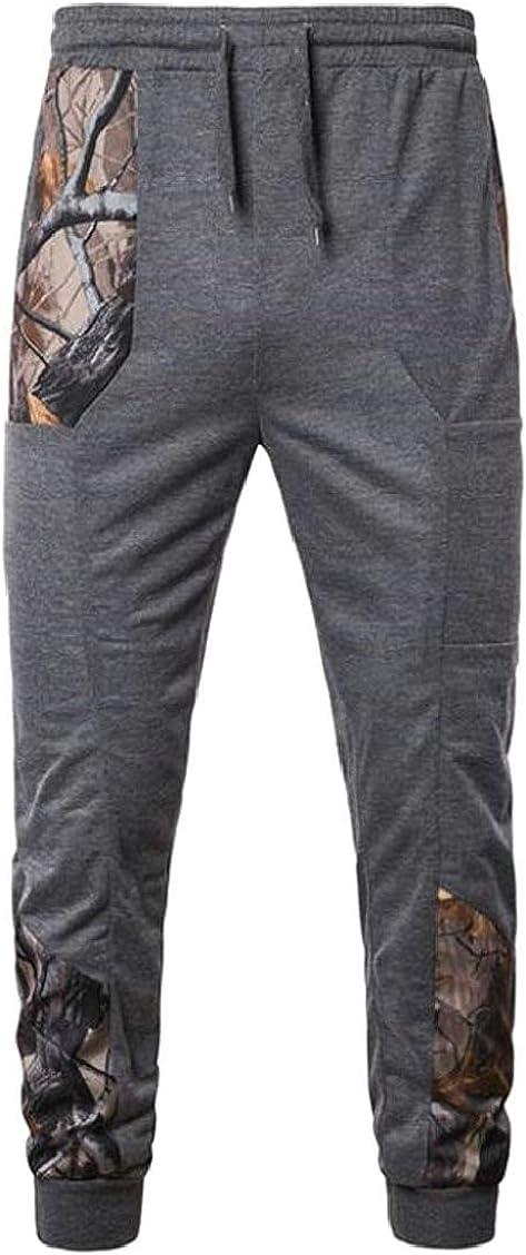 pipigo Men Jogger Gym Drawstring Print Fashion Elastic Waist Long Sweatpants