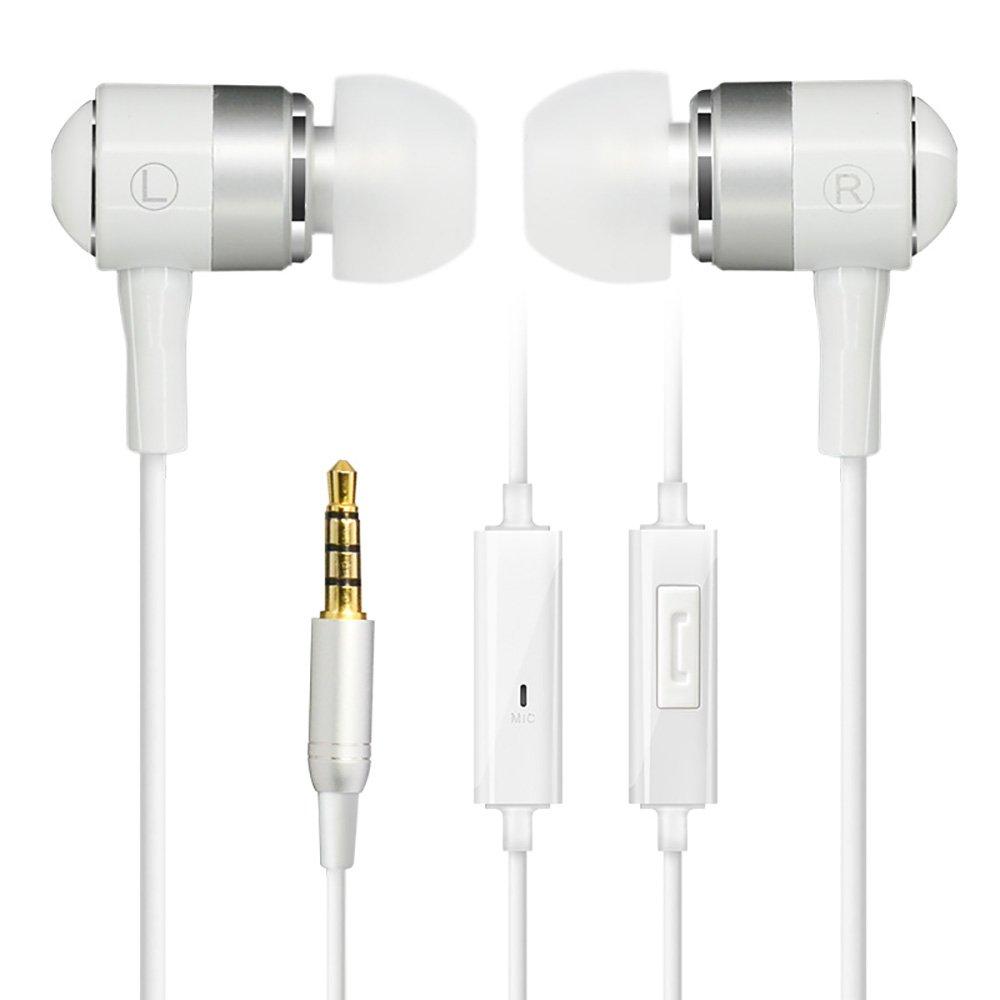 Cowin, auricolari con isolamento acustico; cuffie dinamiche con suono cristallino, ergonomiche, comfort fit, con microfono, compatibili con iPhone e Android, bianchi