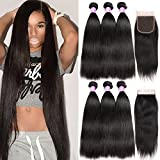 Flady Malaysian Straight Hair 3 Bundles with Free Part Closure Unprocessed 8a Grade Malaysian Straight Virgin Human Hair Bundle with 4x4inch Lace Closure 18 20 22+16inch