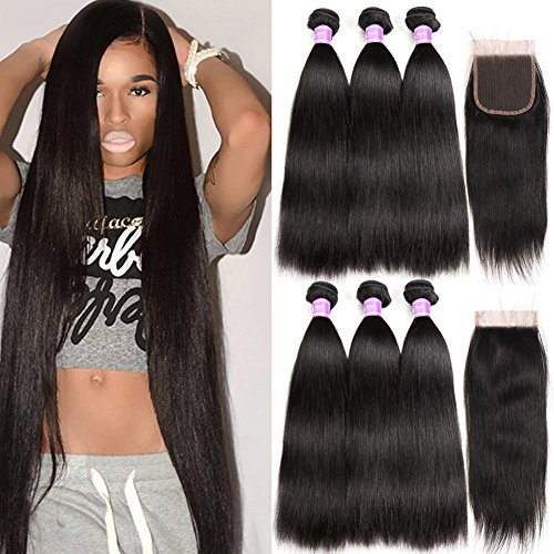 Flady Malaysian Straight Hair 3 Bundles with Free Part Closure Unprocessed 8a Grade Malaysian Straight Virgin Human Hair Bundle with 4x4inch Lace Closure (22 24 26+20inch) by Flady
