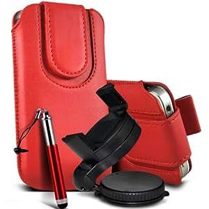Alcatel One Touch Star 6010D premium protección PU botón magnético ficha de extracción Slip In Pouch Pocket Cordón piel cubierta rápida Con Retractable Stylus pen & 360 Sostenedor giratorio del parabrisas del coche cuna Red por Fone-Case