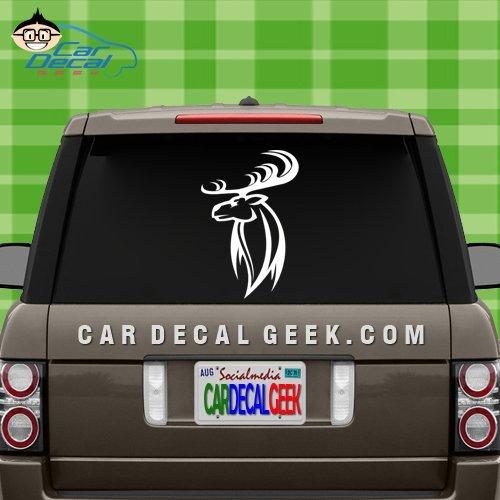 Hunting Deer Head Car & Truck Window Decal Sticker, Laptop Decal Sticker, Macbook Decal Sticker, Wall Decal Sticker , 20-Inch , Silver