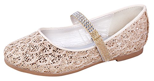 Little Angel Britt Lacy Glitter Dress Flats For Girls | Round Toe Flats | Adjustable Ankle Strap Shoes | Comfortable Flats With Strap | Holiday Shoes | Toddler | Infant | Ivory 2