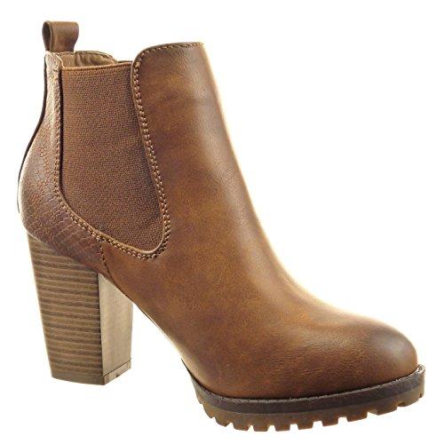 Sopily - Chaussure Mode Bottine Chelsea Boots Montante femmes Peau de serpent Talon haut bloc 8.5 CM - Camel