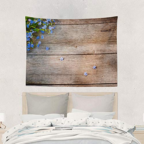 Jake Fashion Shop Farm House Blue Flowers On Wooden Board Tapestries Wall Art Hanging Tapestry, Wall Decoration Yoga Mat Table Cloth Curtain for Floor College Dorm Headboard Office - 50x60