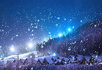 Laeacco 7x5FT Vinyl Photography Backdrop Christmas Pine Tree Forest Rustic Wood House Snowing Nature Winter Night View Xmas Photo Background Children Baby Adults Portraits Backdrop