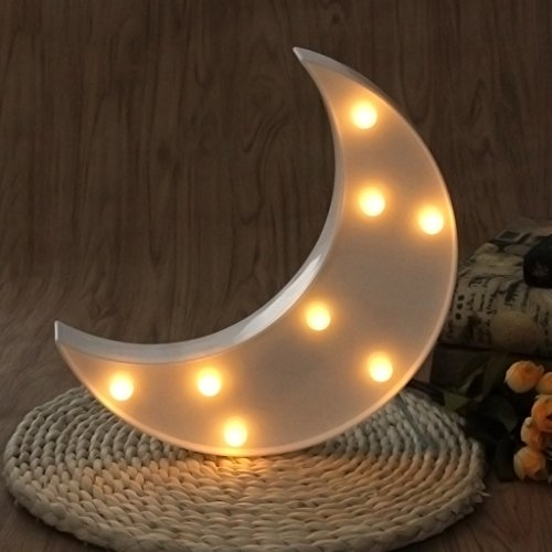 SYlive 3D Night Lamp, 3D Marquee Moon Table Lamp 8 LED Battery Operated Night Light Children's Room (white)