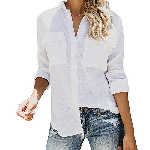 QueenMMWomen Cotton Linen Casual Solid Long Sleeve Shirt Blouse Button Down Tops White