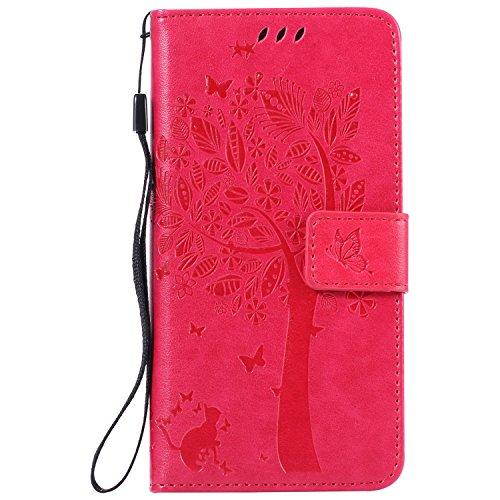 TOCASO Funda de Cuero Sony Xperia M4 Aqua Funda Piel para con Tapa Sony Xperia M4 Aqua [Garantía de por vida] Soporte Plegable Ranuras para Tarjetas y Billetes Estilo Libro Cierre Magnético Impresión  Rosa roja