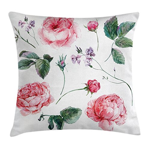 Ambesonne Flower Decor Throw Pillow Cushion Cover, Shabby Chic Vintage Watercolor Roses Branches Wildflowers Hand Print Image, Decorative Square Accent Pillow Case, 20 X 20 Inches, Pink and Green (Pillows Sofa Shabby Chic)