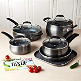 Tasty, Cookware Set Non-Stick - Diamond Reinforced - PFOA Free, 11Pieces (Gunmetal)