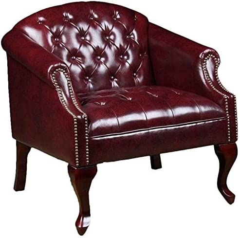 Pemberly Row Faux Leather Tufted Arm Chair