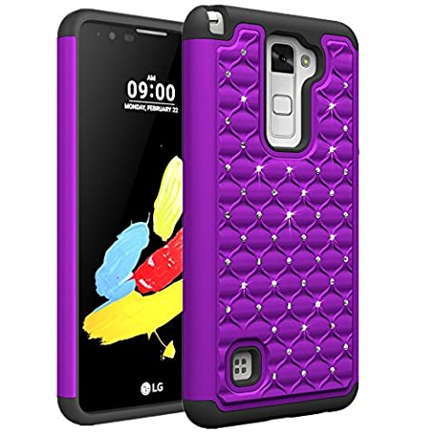 LG Stylo 2 Case, SUMOON [Drop Protection] Studded Rhinestone Crystal Bling Dual Layer Hybrid Armor Defender Protective Case Cover for LG Stylo 2 - Crystal Quilted Jacket