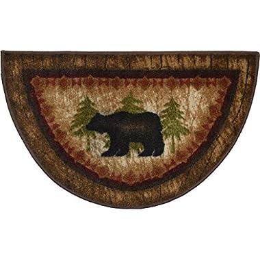 Wholesale Rug Source Cozy Cabin Birch Bear Nonskid (Non Slip) Cute Lodge Kitchen Mat Rug, 19  L x 31  W