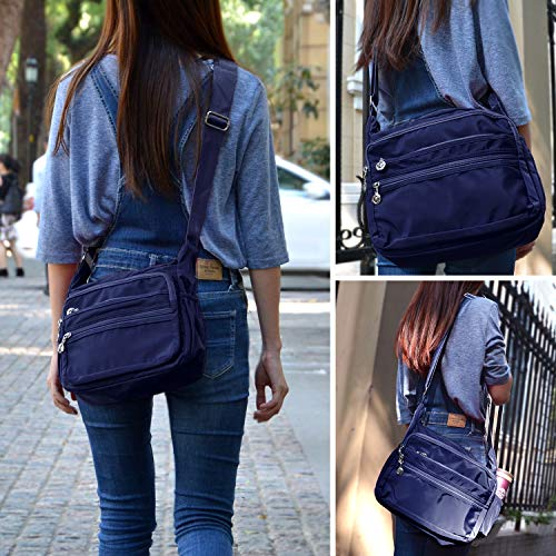Crossbody Bag for Women Waterproof Shoulder Bag Messenger Bag Casual Canvas Purse Handbag (Small, Navy Blue) by NOTAG (Image #6)