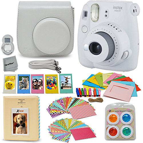 Fujifilm Instax Mini 9 Instant Fuji Camera SMOKEY WHITE (NEW 2017 Release) + Accessories Bundle + Custom Matching Case + Photo Album + Assorted Frames + 4 Color Filters + 60 Sticker Frames + MORE by HeroFiber
