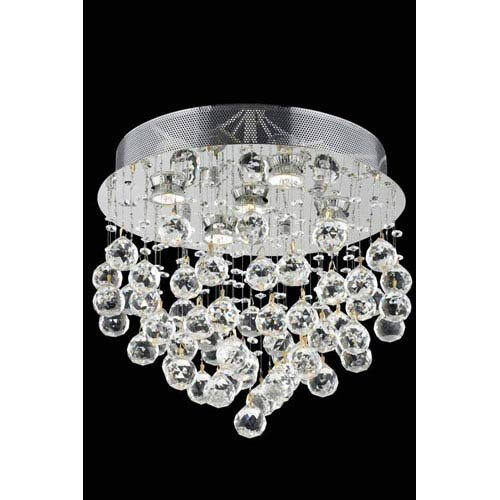 Elegant Lighting 2006F16C/EC Galaxy Collection 5-Light Flush Mount Elegant Cut Crystals with Chrome Finish