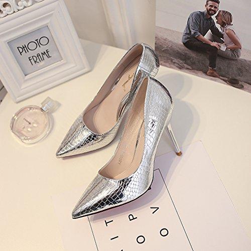 finos femeninos zapatos de puntiagudo la los de zapatos 9 zapatos Silver de punta boca singles versión boda coreana de tacón zapatos La con de zapatos 5CM tacón alto poca BUaqwW