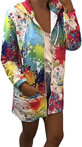NOMUSING Sweatshirts for Women Hoodie Pullover Fashion Tie Dyeing Print Coat Outwear Hooded Jacket Overcoat with Pocket