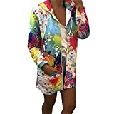 Hattfart Women's Casual Zip Up Dyeing Print Jacket Coat Stand Hooded Lightweight Long Outwear Tops (M, White)