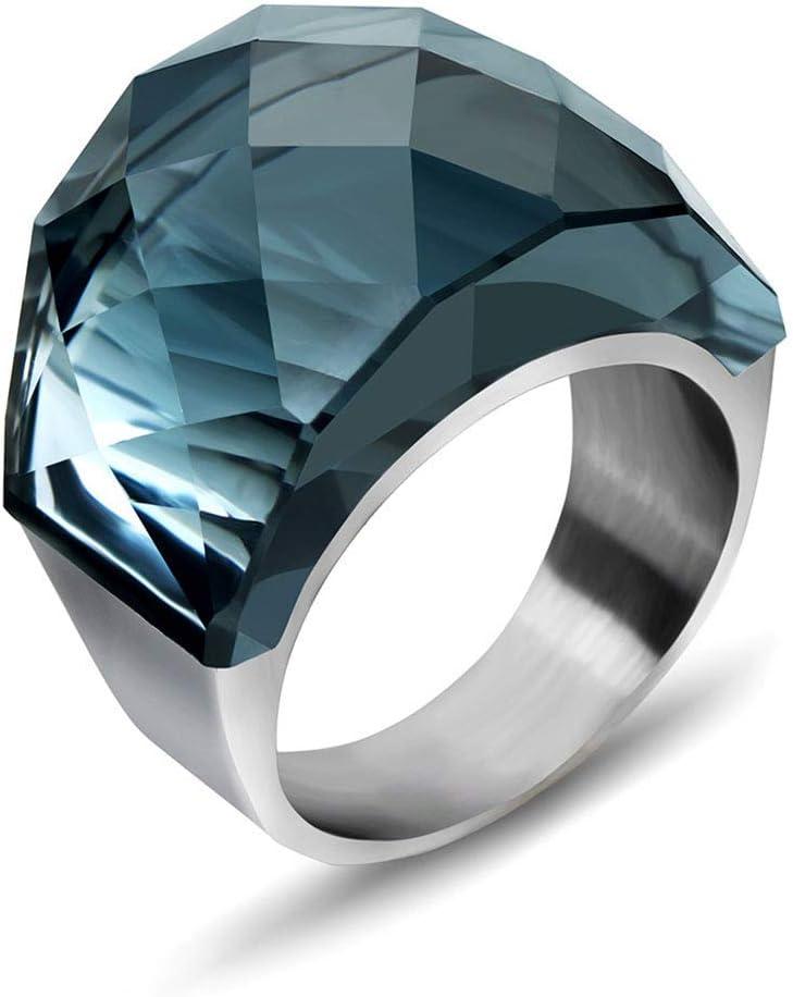 Anillo de joyería con colgante de palacio retro masculino señora nobleza acero titanio anillo piedra preciosa anillo gris 10º