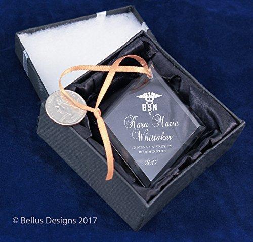 Nursing Degree BSN Graduation Date Keepsake – Diamond Christmas Ormament Personalized with Name, School, Degree and Year