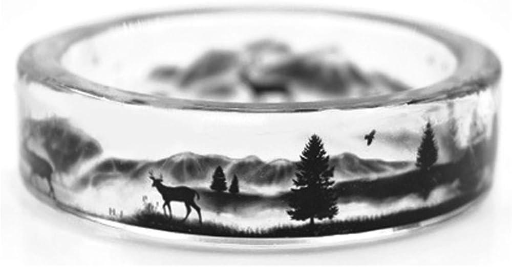 kingfishertrade-ltd Handmade Deer in The Mountains Transparent Resin Women/Men's Charm Ring
