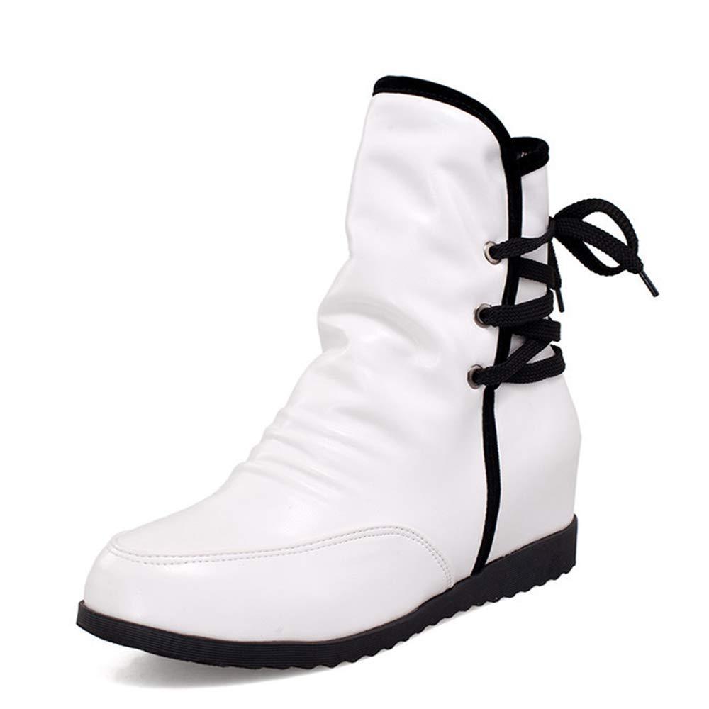 Herbst Damenstiefel Spitzen Stiefelies Großformat Casual damen Es Stiefel Fashion Stiefel Warme Stiefel,Weiß,UK3 EUR37
