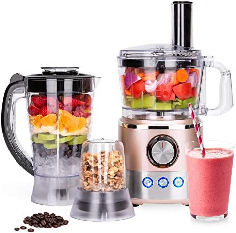 Best Choice Products 650W Multifunctional All-In-One Stainless Steel Food Processor, Blender, Grinder Combo w/ 7.4-Cup Capacity, 10 Attachments for Juicing, Cutting, Shredding, More, Rose Gold