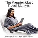 Travelrest 4-in-1 Premier Plus Travel Blanket with Pocket - Covers Shoulders - Plush, Soft and Luxurious - Built-In Stuff Sack (Grey)