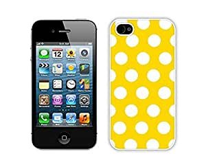 New Apple Iphone 4s White Case Durable Soft Silicone TPU Polka Dot Yellow and White Speck Spot Cell Phone Case Cover Accessories for Iphone 4 by icecream design