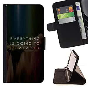 BullDog Case - FOR/Samsung Galaxy S3 III I9300 / - / everything going alright inspiring message /- Monedero de cuero de la PU Llevar cubierta de la caja con el ID Credit Card Slots Flip funda de cuer