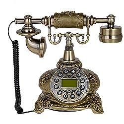 Kmise 108B Bronze Retro Vintage Style Push Button Ceramic Antique Telephone Dial Desk Phone Home Decor
