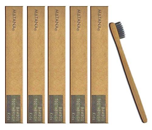 5 Premium Cepillos de Dientes de Bambú para Niños - Blanqueamiento de Dientes Naturales Cepillos de