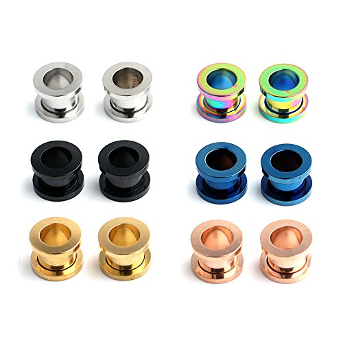 - Ruifan 6 Pairs Surgical Steel Screw Tunnel Gauge Ear Expander Stretching Kit Plugs Piercing 6 Colors Same Size 0G(8mm)