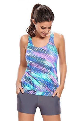 Chase-Secret-Womens-Retro-Stripes-Tie-Side-Two-Piece-Swimsuit-Tankini-Set