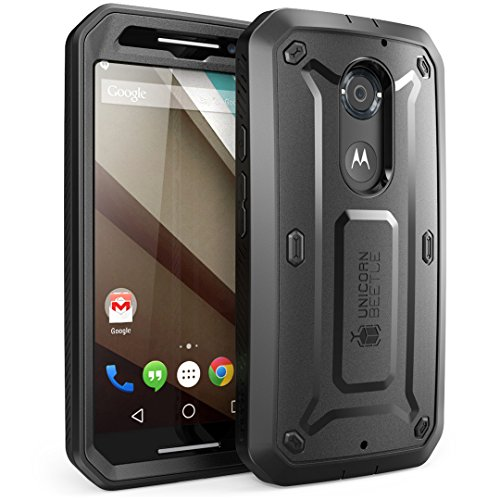 Moto X Case, SUPCASE [Heavy Duty] Belt Clip Holster Case for All New Motorola Moto X (2nd Gen.) Phone 2014 Release [Unicorn Beetle PRO Series] Full-body Rugged Hybrid Protective Cover with Built-in Screen Protector (Black/Black), Dual Layer Design + Impact Resistant Bumper [Not Fit Moto X Phone (1st Gen.) 2013 Release]