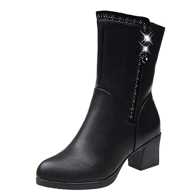 9961e7f4a08 DENER❤ Women Winter Mid Calf Boots with Chunky Heels