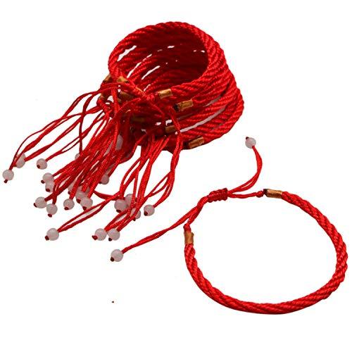 JETEHO 12 Pieces Handmade Kabbalah Red String Bracelets Adjustable Evil Eye Jewelry Kabala Charm Fashion Bangle