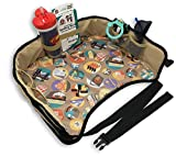 Kids Toddlers Car Seat Travel Tray Reinforced Sturdy Base Waterproof Toy Organizer Snack and Play Tray with Mesh Pockets for Short Trips or Long Journeys 16'' x 13''