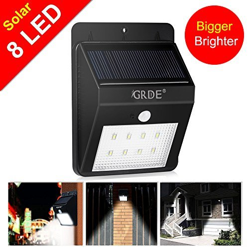 Solar Light, 8LED Solar Powered Wireless Motion Sensor Light Outdoor Waterproof Security Lighting- Motion Detector with Bright/ Dim Mode; Day/ Night Auto ON/OFF for Deck Garden Outside Wall(1 Pack) by GRDE