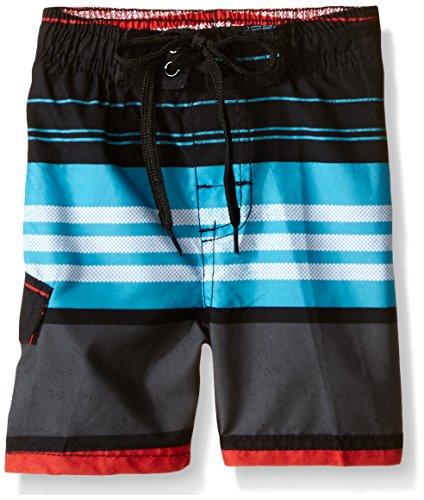 Kanu Surf Little Boys' Toddler Halo Stripe Swim Trunk, Black/Red, 4T