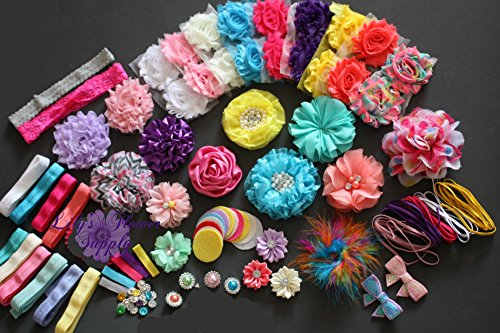 Headband Kit - Baby Shower Headband Kit - DIY - Make 32 Headbands and 5 Clips - Baby Shower Headband Station Kit - DIY Hair Bow Kit - Birthday Party Collection