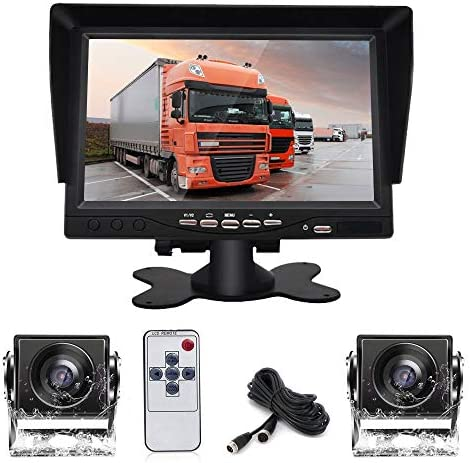 Dual Backup Camera System Kit with DVR, 7 HD Reversing Monitor 2 Rear View 170 Wide Angle Night Vision Waterproof Camera Fit for Trucks RV Van Campers Vehicles.